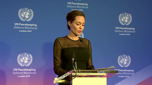 Shows interior shots Angelina Jolie Pitt speaking from stage on need for more women to be involved in UN Peacekeeping process at UN Peacekeeping...