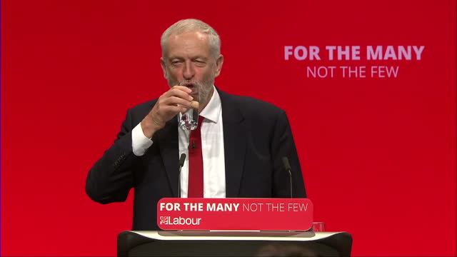 Shows interior shots audience at the Labour Party COnference clapping and chanting 'oh Jeremy Corbyn' as UK Labour Party Leader takes to stage for...