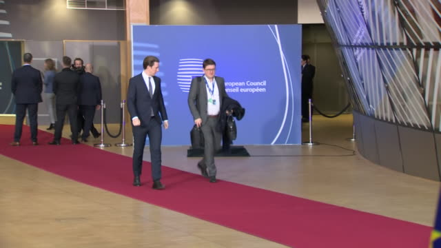 shows interior shots austrian chancellor sebastian kurz arriving and speaking to press and eu countries flags in arrivals hall theresa may heads to... - traditionally austrian stock videos & royalty-free footage