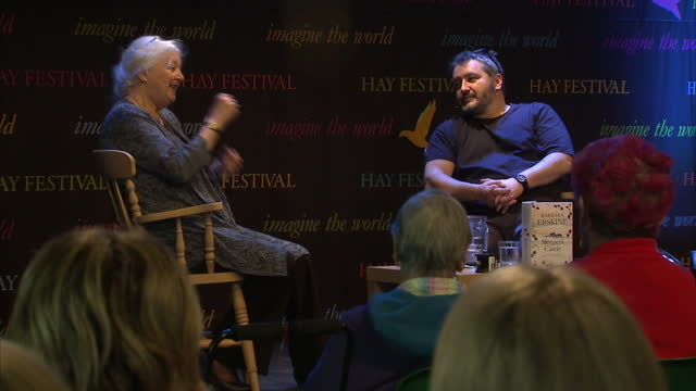 vídeos de stock e filmes b-roll de shows interior shots author barbara erskine sitting on stage during author talks event at hayonwye literary festival on may 30 2016 in hayonwye wales - hay on wye