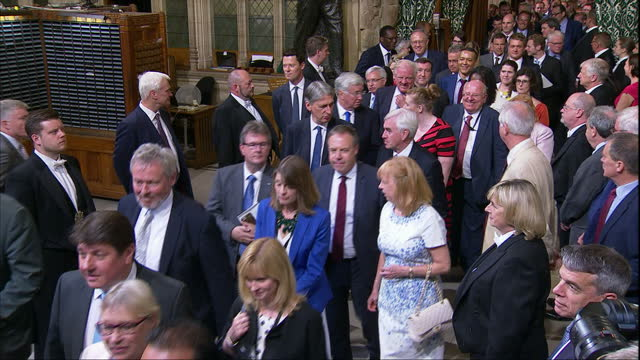 shows interior shots black rod leading procession of mps from the commons chamber to listen to the queen's speech in the lords chamber including... - parlamentsmitglied stock-videos und b-roll-filmmaterial
