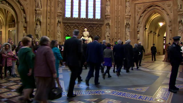 shows interior shots black rod sarah clarke leading mps through the central lobby of the houses of parliament from the house of commons to the house... - house of commons stock videos & royalty-free footage