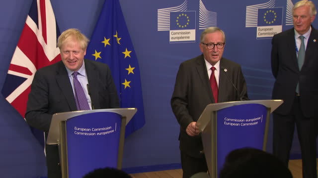 shows interior shots boris johnson uk prime minister posing for photos with jean claude juncker president of the european commission with soundbite... - boris johnson stock videos and b-roll footage