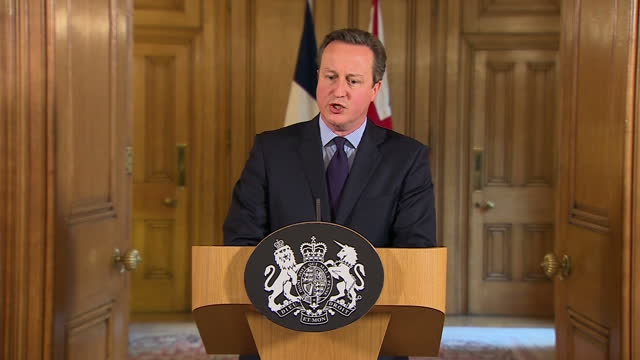 Shows Interior shots British Prime Minister David Cameron at Press Conference speaking on November 2015 French Paris terror attacks and terror threat...