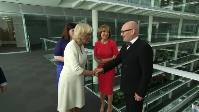 shows interior shots camilla duchess of cornwall arriving at headquarters of independent television news ltd to mark the 21st anniversary of 5 news... - daniel pearl stock videos & royalty-free footage