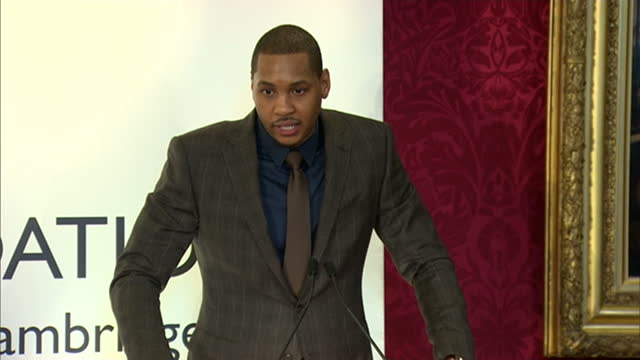 vídeos de stock, filmes e b-roll de shows interior shots carmelo anthony speaking to room of graduates congratulating them for their achievements at st james palace on january 14 2015... - liga esportiva