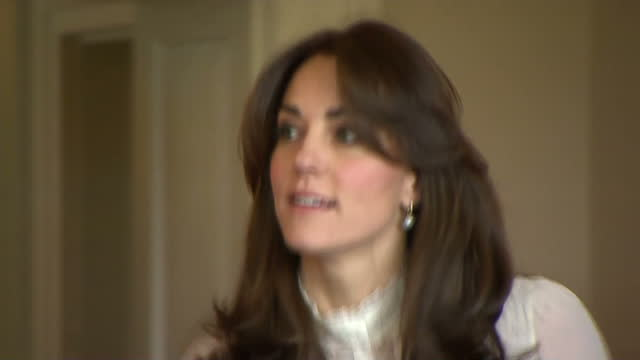 Shows interior shots Catherine Duchess of Cambridge greeting the Huffington Post UK Editor in Chief and various staff members The Duchess of...