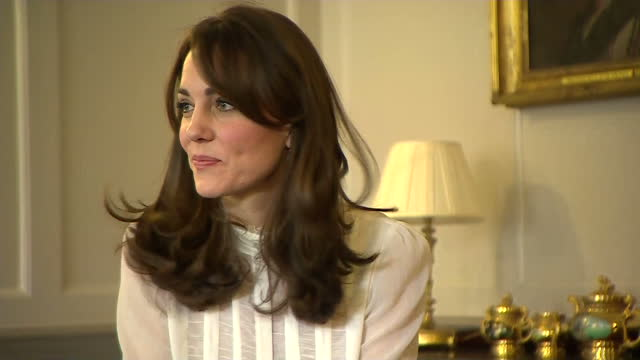shows interior shots catherine duchess of cambridge meeting with group of children and representatives from mental health charities the duchess of... - film editing stock videos & royalty-free footage