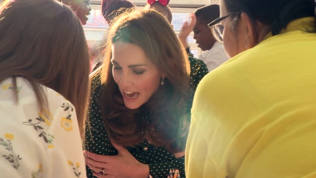 Shows interior shots Catherine Duchess of Cambridge talking to children and parennts at Evelina London Children's Hospital on 11th December 2018 in...