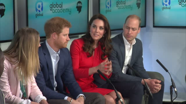 shows interior shots catherine duchess of cambrige talking at round table discussion on mental health with prince william prince harry students and... - round table discussion stock videos & royalty-free footage