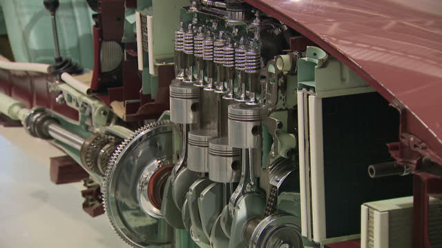 shows interior shots close ups of internal combustion engines including psitons and cogs at the british motor museum in warwickshire, on 26th july,... - engine stock videos & royalty-free footage