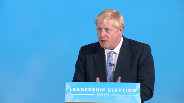 shows interior shots conservative leadership candidate boris johnson mp speaking on brexit the conservative party leadership battle has moved to... - northern ireland stock videos & royalty-free footage