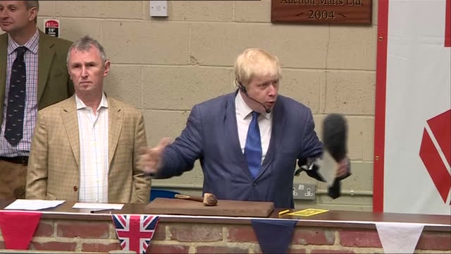 Shows interior shots Conservative MP and 'Out' Campaigner Boris Johnson speech to farmers on apprehensive at future of EU and independence day for UK...