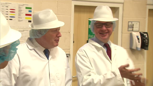 shows interior shots conservative mps and 'out' campaigners priti patel michael gove and boris johnson touring farmhouse biscuits factory dressed in... - haarnetz stock-videos und b-roll-filmmaterial