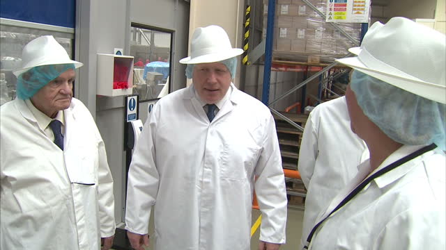shows interior shots conservative mps and 'out' campaigners priti patel, michael gove and boris johnson touring farmhouse biscuits factory and... - gluten free stock videos & royalty-free footage