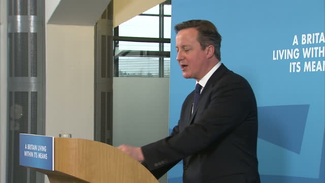 stockvideo's en b-roll-footage met shows interior shots david cameron speaking at conservative manifesto announcement begins running through the five commitments the party are making... - manifest