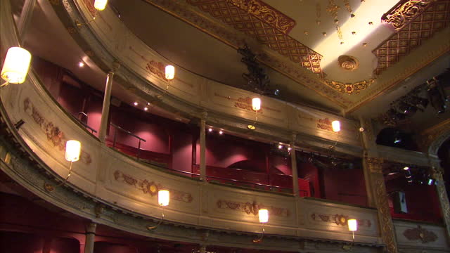 shows interior shots decoration mouldings and seats in auditorium of old vic theatre in bristol on may 29 2016 in london england - moulding trim stock videos & royalty-free footage