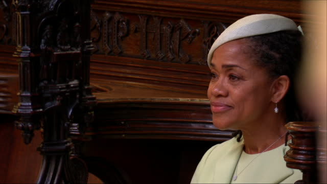 shows interior shots doria ragland, meghan markle's mother, waiting for her to arrive in st george's chapel before the wedding of prince harry, duke... - raw footage stock videos & royalty-free footage