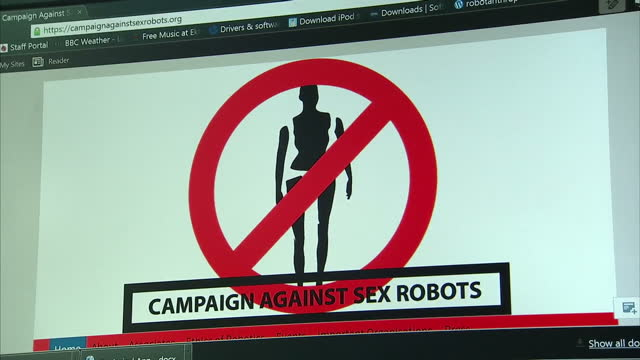 Shows interior shots Dr Kathleen Richardson from Campiagn Against Human Sex Robots working in office and interview with her Interview with Professor...