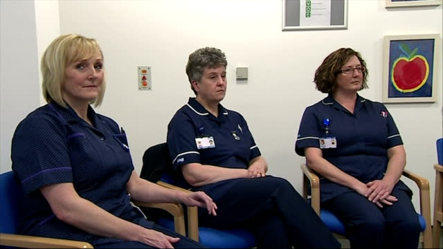 shows interior shots ed miliband sat in meeting with nurses and other stevenage hospital employees on january 12 2015 in stevenage england - other stock videos and b-roll footage
