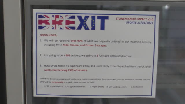 shows interior shots empty shelves and fridges inside shop selling british food in brussels due to supply problems following brexit, interior shots... - spokesman stock videos & royalty-free footage