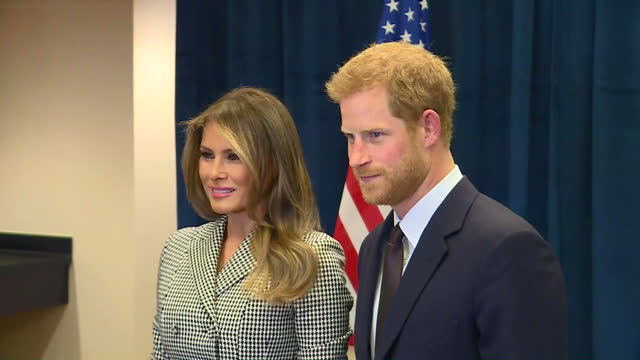 shows interior shots first lady of usa melania trump meeting prince harry shaking hands and posing for photos prince harry met with us first lady... - melania trump stock-videos und b-roll-filmmaterial