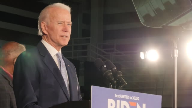 shows interior shots former vice president joe biden, 2020 democratic presidential candidate, on stage at rally in south carolina. the contest to be... - politische versammlung stock-videos und b-roll-filmmaterial