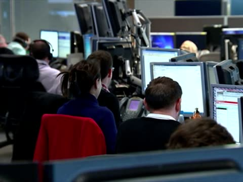 shows interior shots gchq employees sat at desks in the 24hr operation centre on january 16 2015 in cheltenham england - counter terrorism stock videos & royalty-free footage