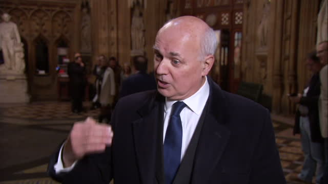 Shows interior shots interview soundbite with Conservative MP Iain Duncan Smith speaking on UK Parliament voting for Article 50 timeline The Tories...