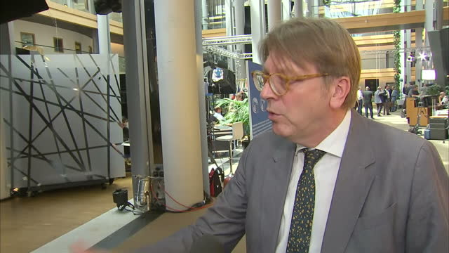 Shows interior shots interview soundbite with EU Parliament BREXIT CoOrdinator Guy Verhofstadt speaking on need for BREXIT negotiations to begin...