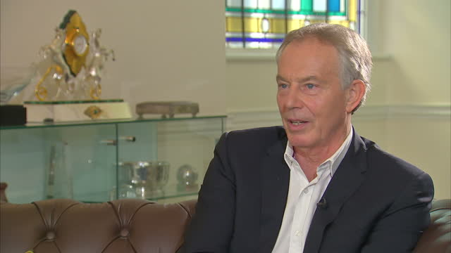 Shows interior shots interview soundbite with former UK Prime Minister Tony Blair speaking on Iraq War QUOTE Look I've learnt over time there's no...