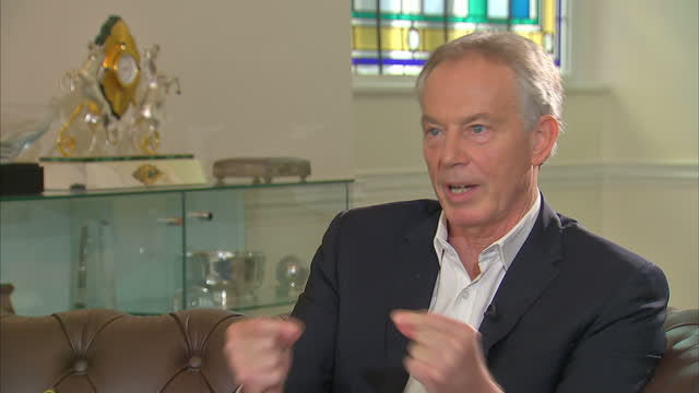 Shows interior shots interview soundbite with former UK Prime Minister Tony Blair speaking on social media and it's impact on modern politics QUOTE I...