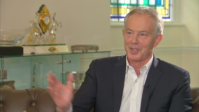 shows interior shots interview soundbite with former uk prime minister tony blair speaking on result in 2017 uk general election and centrist... - prime minister of the united kingdom stock videos & royalty-free footage