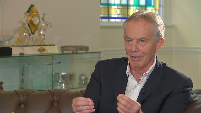 shows interior shots interview soundbite with former uk prime minister tony blair speaking on his legacy quote politics has taken a turn in these... - prime minister of the united kingdom stock videos & royalty-free footage