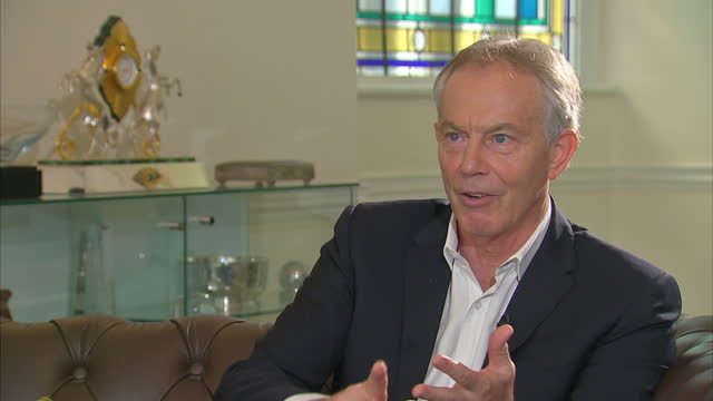 shows interior shots interview soundbite with former uk prime minister tony blair speaking on defending his type of politics and centrism quote first... - prime minister of the united kingdom stock videos & royalty-free footage