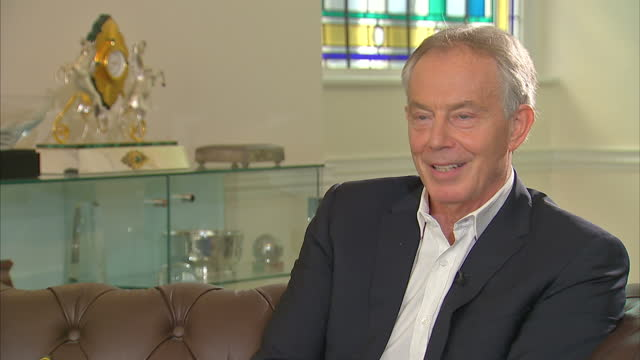 Shows interior shots interview soundbite with former UK Prime Minister Tony Blair speaking on Jeremy Corbyn Brexit and planning for the future and...