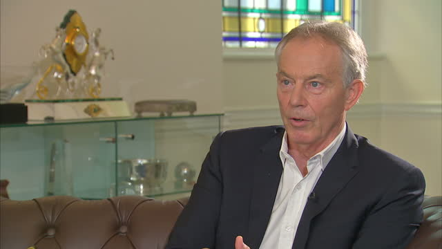 Shows interior shots interview soundbite with former UK Prime Minister Tony Blair speaking on similarities between support for Trump on the right and...