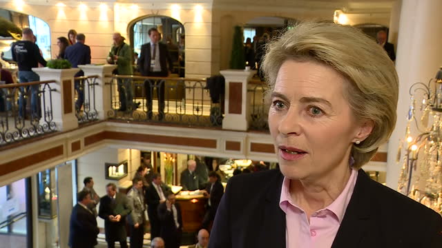 shows interior shots interview soundbite with german defence minister ursula von der leyen speaking on mike pence's speech and us relationship with... - minister stock-videos und b-roll-filmmaterial