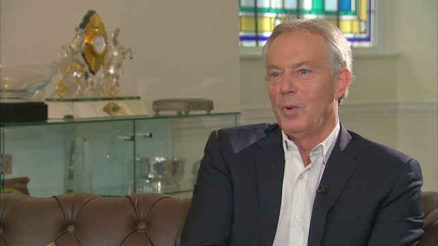 shows interior shots interview soundbites with former uk prime minister tony blair speaking on views on brexit quote at some point we are going to... - prime minister of the united kingdom stock videos & royalty-free footage