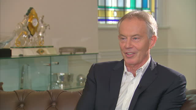 """shows interior shots interview soundbites with former uk prime minister tony blair speaking on views on brexit. quote: """"i think public opinion is... - film negative stock videos & royalty-free footage"""