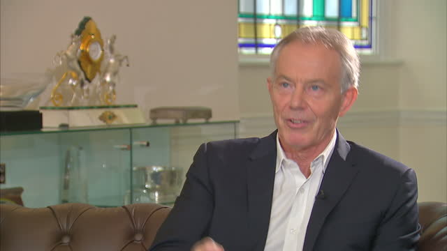 Shows interior shots interview soundbites with former UK Prime Minister Tony Blair speaking on views on BREXIT QUOTE It's not a question of me...