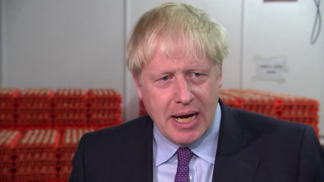 shows interior shots interview with british prime minister boris johnson mp speaking on brexit yesterday the prime minister was greeted by boos in... - prime minister of the united kingdom stock videos and b-roll footage