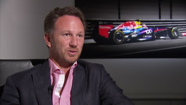 Shows interior shots interview with Christian Horner Team Principal Red Bull speaking on Liberty Media Corporation deal to buy Formula One Motor...
