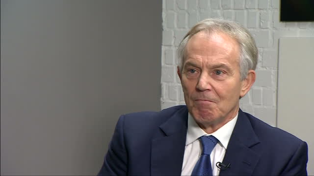 Shows interior shots interview with former UK Prime Minister Tony Blair speaking on claims made in book about Trump that he said British intelligence...