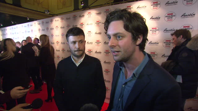 shows interior shots interview with orlando weeks and felix white of the maccabees on nme awards and nominations the nme awards 2016 with austin... - austin white stock videos & royalty-free footage