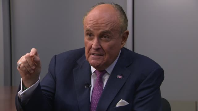shows interior shots interview with rudy giuliani donald trump's lawyer speaking on criticism of mueller investigation affect of it on donald trump... - scolding stock videos & royalty-free footage