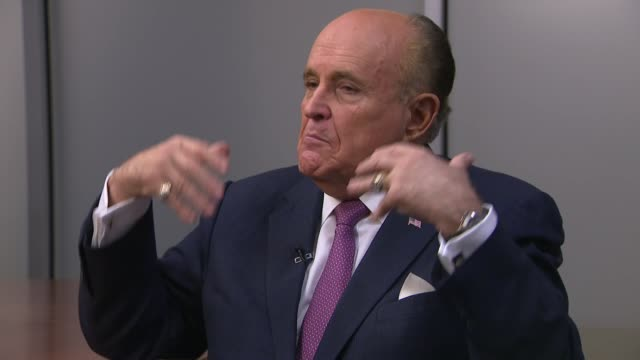 Shows interior shots interview with Rudy Giuliani Donald Trump's lawyer speaking on criticism of Mueller Investigation affect of it on Donald Trump...