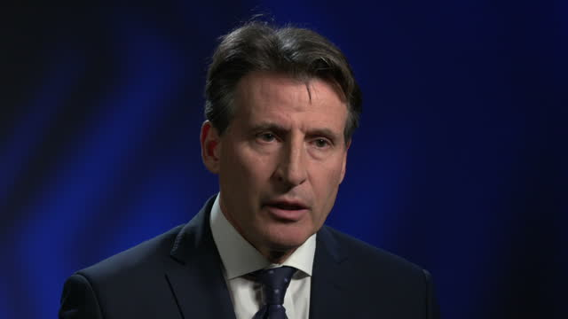 vídeos de stock, filmes e b-roll de shows interior shots interview with seb coe president of the iaaf about russian athletics doping allegations a major investigation has accused russia... - rio russian