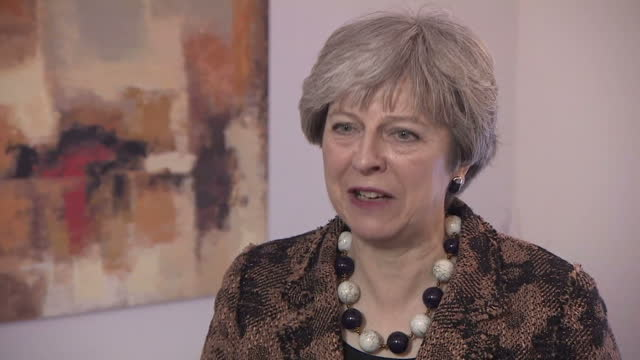 Shows interior shots interview with UK Prime Minister Theresa May speaking on thanking work done by NHS staff preparations made by the NHS to deal...