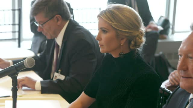 shows interior shots ivanka trump listening to people speaking and reading statement at meeting at un general assembly also attended by uk prime... - shift key stock videos & royalty-free footage